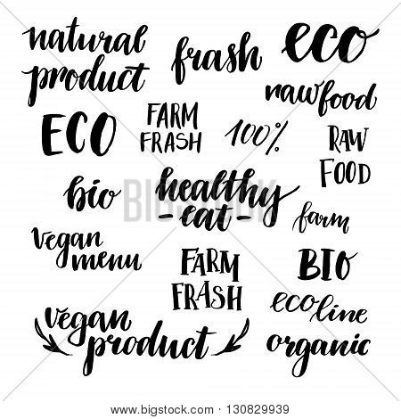 Hand drawn vector illustration - Set of organic food labels. Organic and vegan food. Perfect for cards quotes stickers blogs posters and more.