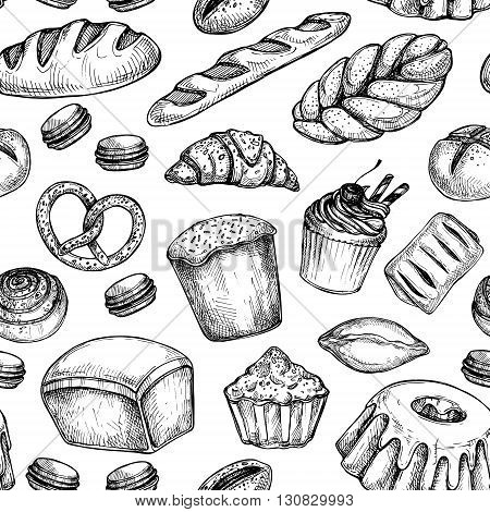 Hand drawn vector illustration - Seamless pattern with sweet and dessert. Yummy background (croissant cupcakes pretzels cake cheesecake macaroon). Bakery shop.