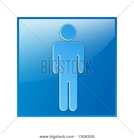 Male, Icon, Toilet Plate