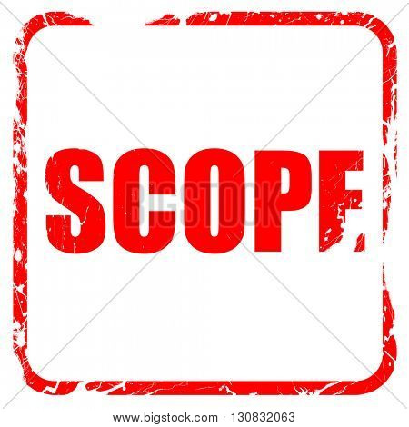 scope, red rubber stamp with grunge edges
