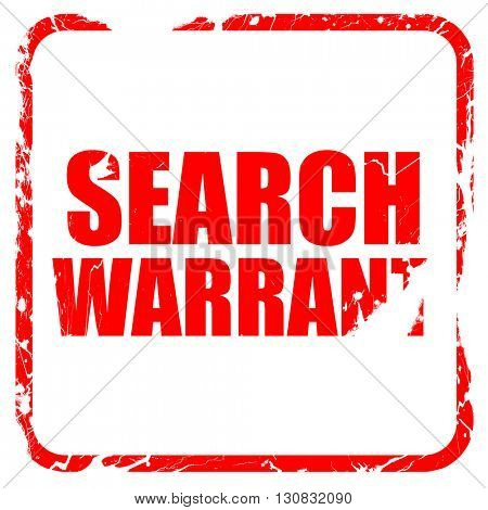 search warrant, red rubber stamp with grunge edges
