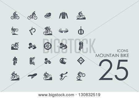 mountain bike vector set of modern simple icons