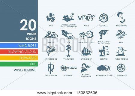wind vector set of modern simple icons