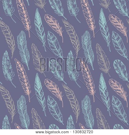 Hand drawn vector vintage illustration - Feathers. Ink and feather. Seamless pattern with nature elements. Abstract background