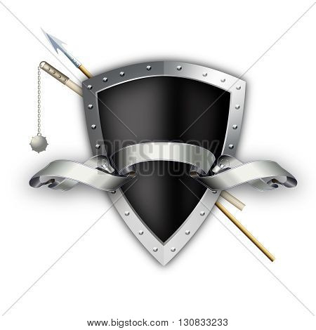 Black shield with silver riveted border and spear with mace on white background.