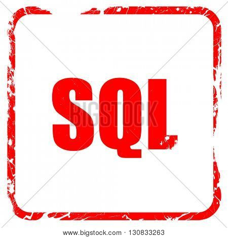 sql, red rubber stamp with grunge edges