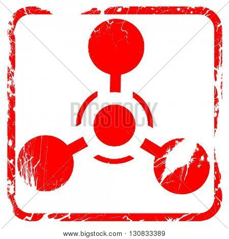 Chemical weapon sign, red rubber stamp with grunge edges