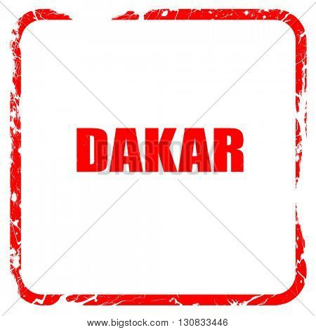 dakar, red rubber stamp with grunge edges