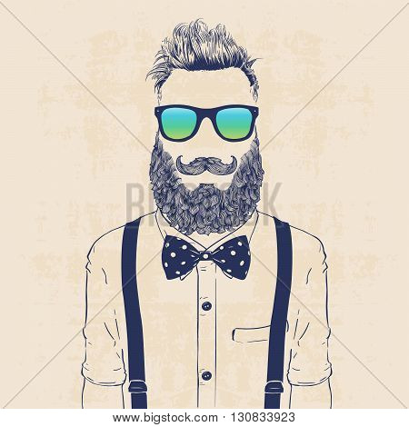 fashion character illustration gentleman hipster with sun glasses jazzbow and galluses