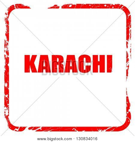karachi, red rubber stamp with grunge edges