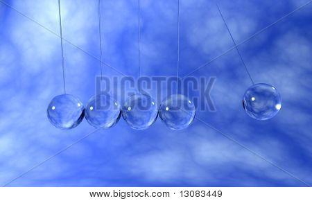 Transparent crystal kinetic pendulums
