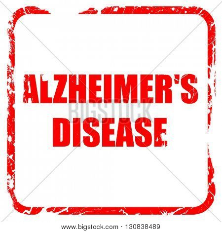 Alzheimer's disease background, red rubber stamp with grunge edg