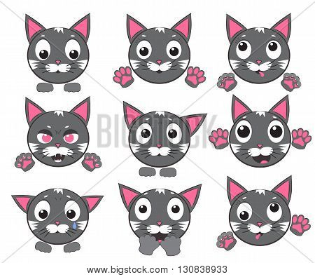 Smiley cat faces with paws. Set of vector icons