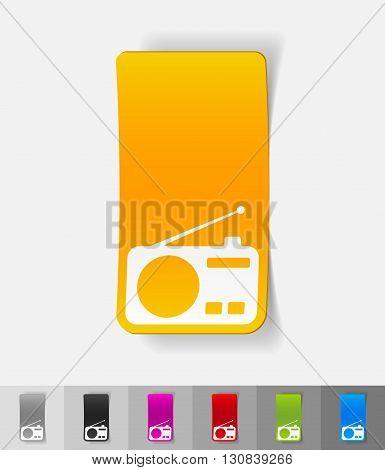 radio paper sticker with shadow. Vector illustration