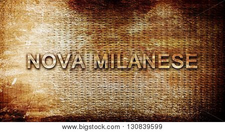 Nova milanese, 3D rendering, text on a metal background