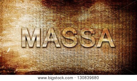 Massa, 3D rendering, text on a metal background