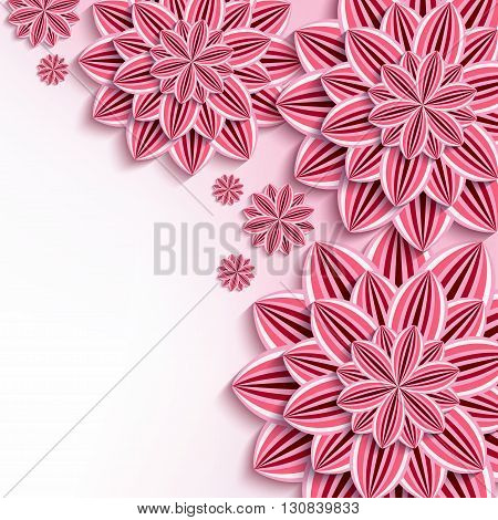 Floral elegant background with pink 3d flowers dahlia cutting paper. Beautiful stylish background. Trendy greeting or invitation card for wedding birthday. Vector illustration