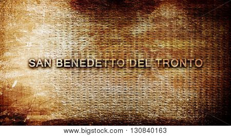San benedetto del tronto, 3D rendering, text on a metal backgrou