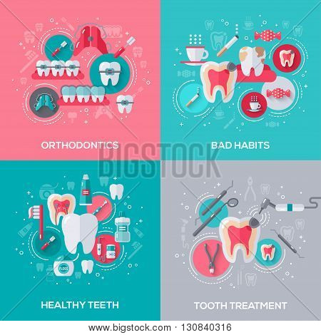 Dentistry Banners Set With Flat Icons. Vector illustration. Dental Concepts. Healthy Clean Teeth. Tooth Treatment. Orthodontics. Bad Habits