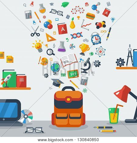 Back To School Education Concept. Vector Illustration. Child backpack collecting school flat icons. Pupil workplace
