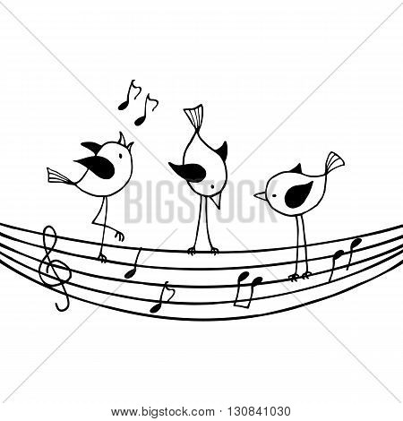Three birds on the stave with treble clef and notes. Contour vector image isolated on white.