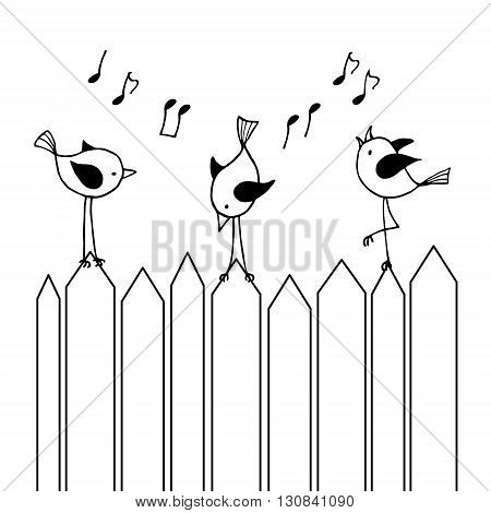 Three chirping birds on the fence. Contour Vector illustration.