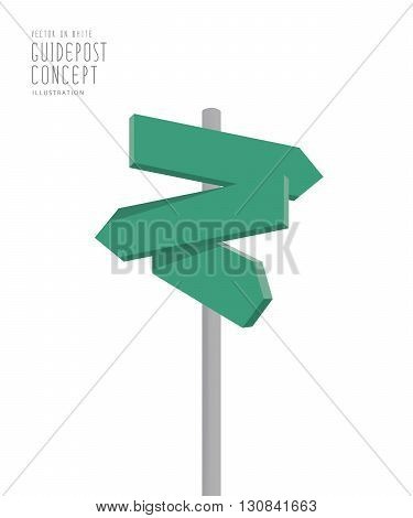 Illustration vector blank green guidepost direction arrows for many way to the destination on white background.