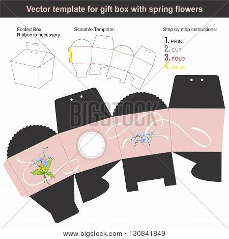 Vector template for present box with spring flowers