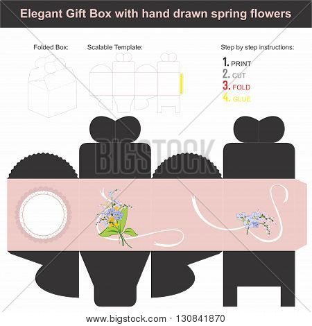 Vector template for present box in cube shape with spring flowers