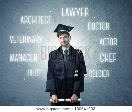 Graduate person looking for professions written above his head