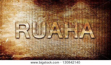 Ruaha, 3D rendering, text on a metal background