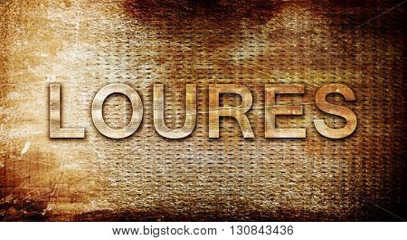 Loures, 3D rendering, text on a metal background