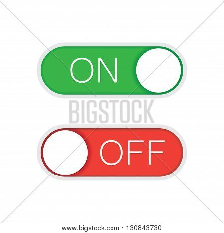 Universal toggle switch vector icon On and Off position simple icons.Green and red switch. Modern minimal flat design style.