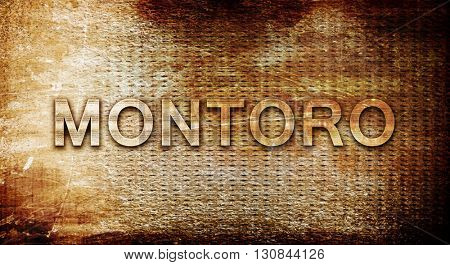 Montoro, 3D rendering, text on a metal background