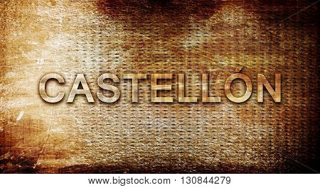 Castellon, 3D rendering, text on a metal background