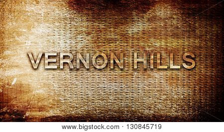 vernon hills, 3D rendering, text on a metal background