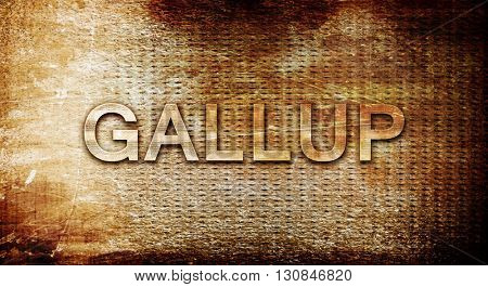 gallup, 3D rendering, text on a metal background