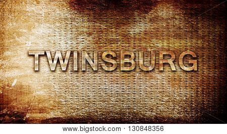 twinsburg, 3D rendering, text on a metal background