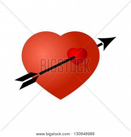 Black arrow broke through the red heart