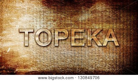 topeka, 3D rendering, text on a metal background