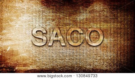 saco, 3D rendering, text on a metal background