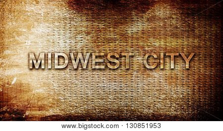 midwest city, 3D rendering, text on a metal background