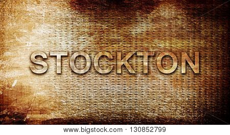 stockton, 3D rendering, text on a metal background