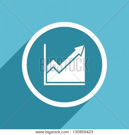 histogram icon, flat design blue icon, web and mobile app design illustration