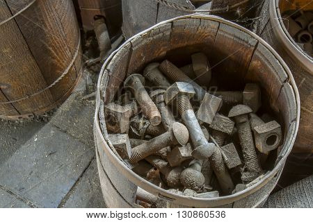 Basket Of Industrial Nuts And Bolts