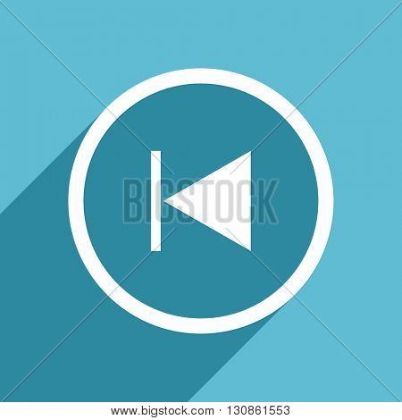 prev icon, flat design blue icon, web and mobile app design illustration