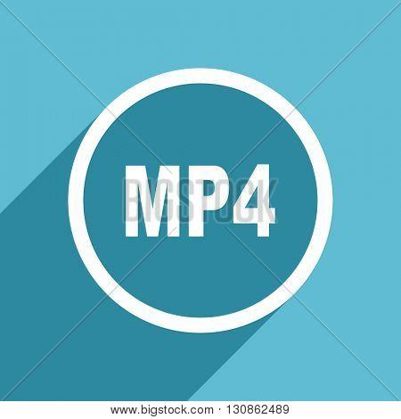 mp4 icon, flat design blue icon, web and mobile app design illustration