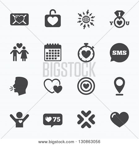 Calendar, go to web and like counter. Love, valentine day icons. Target with heart, oath letter and locker symbols. Couple lovers, boyfriend signs. Sms speech bubble, talk symbols.