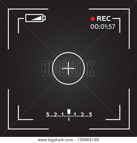 Camera viewfinder. Template focusing screen of the camera. Viewfinder camera recording eps10