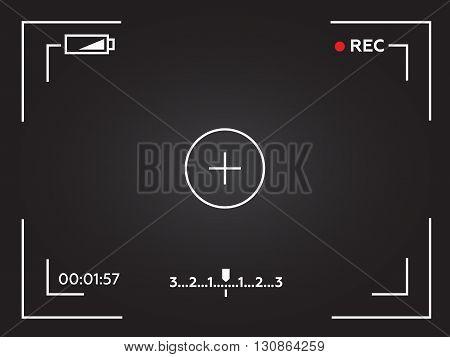 Camera viewfinder. Template focusing screen of the camera. Viewfinder camera recording. Video screen eps10